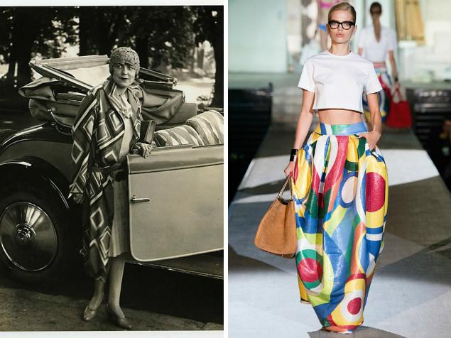 Suknia projektu Sonii Delaunay i współczesna wersja projektu Dsquared2 | vogue.com