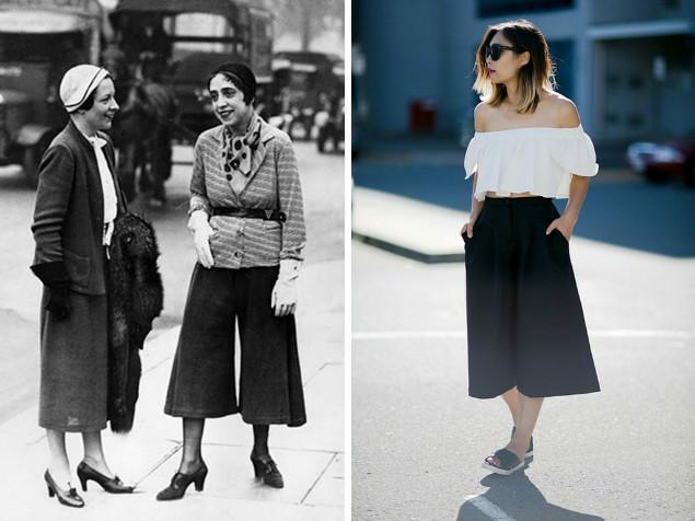 Elsa Schiaparelli w cullotach i współczesna wersja tego trendu | pinterest.com
