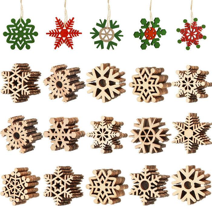 Blulu - 100 sztuk drewnianych płatków śniegu
